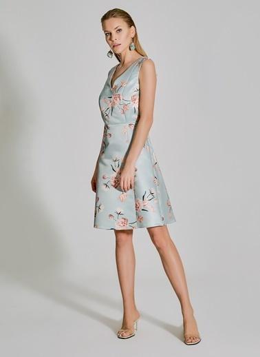 People By Fabrika Desenli Saten Elbise Mavi